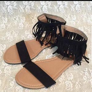 New Black Fringe Sandals